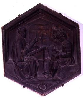 Grammar, hexagonal decorative tile from a series depicting the Seven Liberal Arts possibly based on
