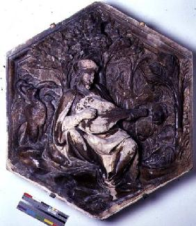 Poetry, hexagonal decorative relief tile from a series depicting the Seven Liberal Arts possibly bas