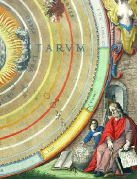 An Astronomer, detail from a map of the planets, from 'A Celestial Atlas, or The Harmony of the Univ