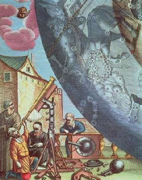 Astronomers looking through a telescope, detail from a map of the constellations from 'The Celestial
