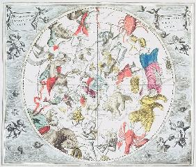 Celestial Planisphere Showing the Signs of the Zodiac, from ''The Celestial Atlas, or The Harmony of