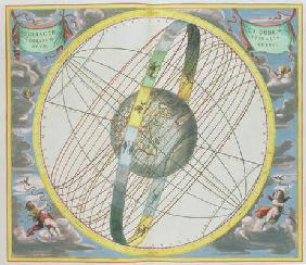 Map Charting the Orbit of the Moon around the Earth, from 'A Celestial Atlas, or The Harmony of the