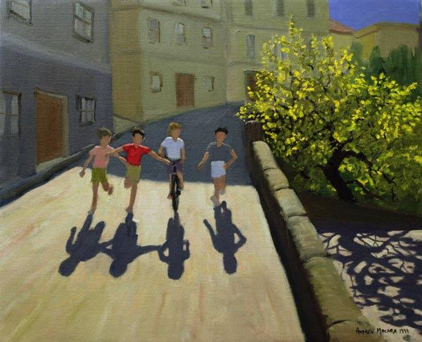Children Running, Lesbos, 1999 (oil on canvas)