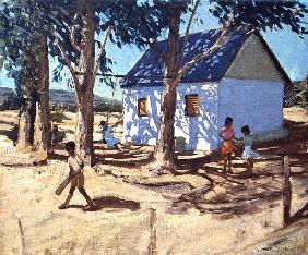 Little white house, Karoo, South Africa (oil on canvas)