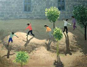 Playground, Lesbos, 1996 (oil on canvas)