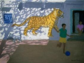 Tiger, India (oil on canvas)
