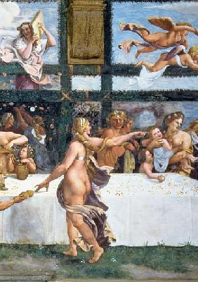 The Rustic Banquet celebrating the marriage of Cupid and Psyche, with the three lunettes above depic
