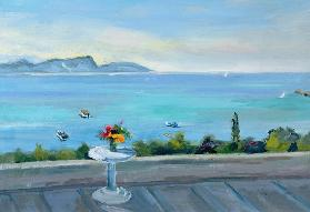 A terrace looking out to sea (oil on canvas)