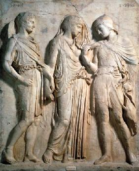 Hermes, Orpheus and Eurydice, relief