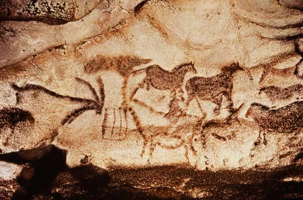 Cave painting of horses and deer
