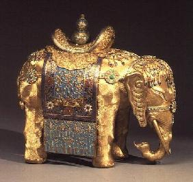 Chinese gilt-bronze figure of an elephant, with enamel trappings and coral and turquoise cabochons,