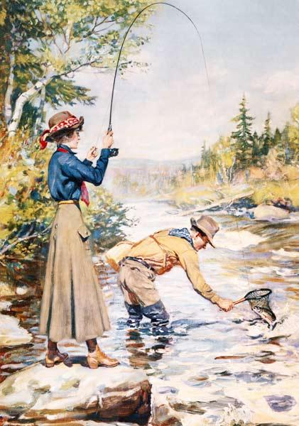 Couple Fishing on a River