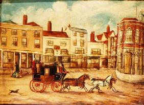 London to Maidstone Stage Coach Passing the Swan Inn and Town Hall