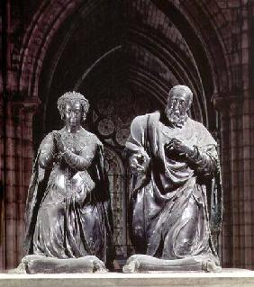 Tomb of Henri II (1519-59) and Catherine de Medici (1519-89) detail of the couple kneeling at prayer