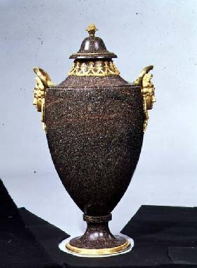 Vase-shaped porphyry urn with ormolu mountsSwedish