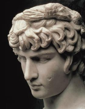 Portrait head of Antinous wearing the wreath of Dionysus, part of a statue from the villa of Emperor
