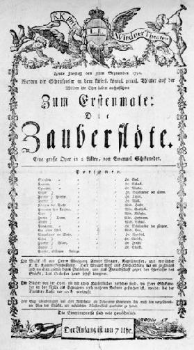 Poster advertising the premiere of 'The Magic Flute' by Wolfgang Amadeus Mozart at the Freihaustheat