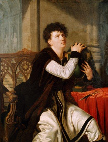 Portrait of Francois Joseph Talma (1763-1826) as Hamlet (oil on canvas)