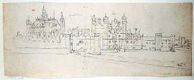 The Chapel and Gatehouse of Hampton Court, from 'The Panorama of London'