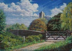 Otterton Bridge and Church, 2001 (pastel on paper)