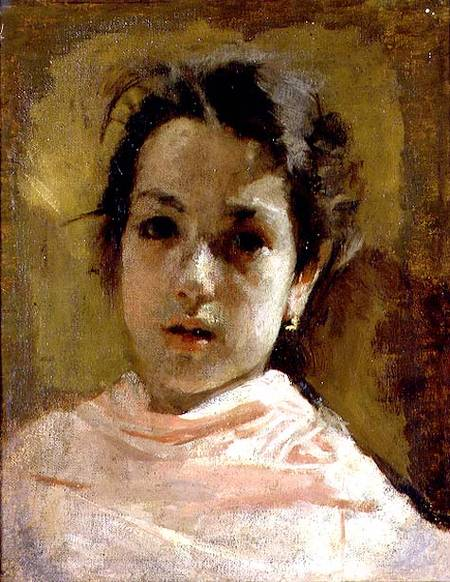 Portrait Of A Young Girl Antonio Mancini As Art Print Or