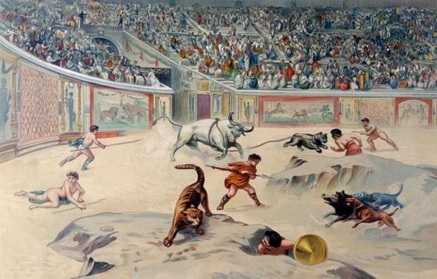 Gladiators Fighting Animals In The Circu Antonio