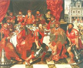 Banquet (the council menbers of Brügge?/ banquet of the king Ahasver or Aartaxerxes