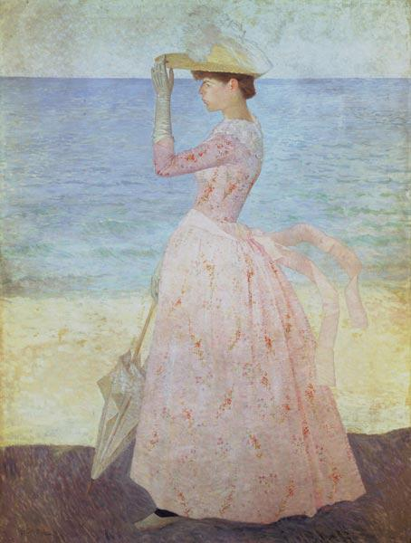 Woman with parasol.