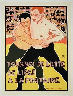 Reproduction of a poster advertising a wrestling tournament, at The Fountain, Liege, Belgium