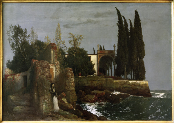 villa am meer arnold b cklin as art print or hand painted oil. Black Bedroom Furniture Sets. Home Design Ideas