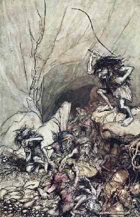 "Alberich drives in a band of Niblungs laden with gold and silver treasure. Illustration for ""The Rhi"