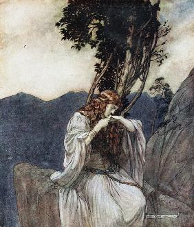"Brünnhilde kisses the ring that Siegfried has left with her. Illustration for ""Siegfried and The Twi"