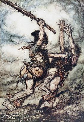 "Giant Fafner Kills Fasolt. Illustration for ""The Rhinegold and The Valkyrie"" by Richard Wagner"