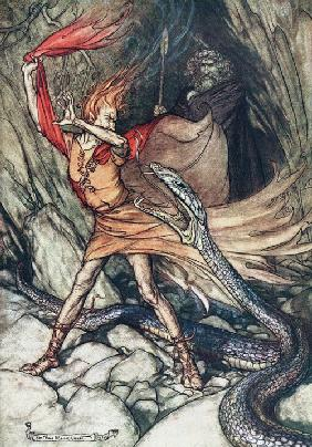 "Ohe! Ohe! Terrible dragon, oh, swallow me not! Illustration for ""The Rhinegold and The Valkyrie"" by"