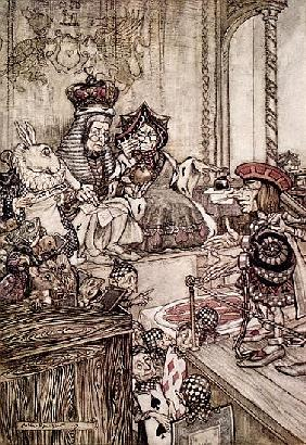 Knave before the King and Queen of Hearts, illustration to ''Alice''s Adventures in Wonderland'' Lew