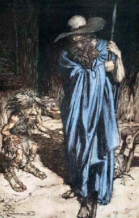 "Mime and the Wanderer. Illustration for ""Siegfried and The Twilight of the Gods"" by Richard Wagner"