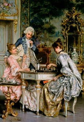 At the chess in the Rococo period.