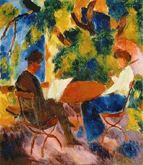 Couple at the garden table