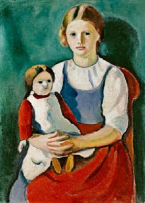 Fair-haired girl with doll