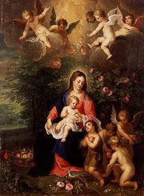 Madonna with child and surrounded, the Johannesknaben, by angels