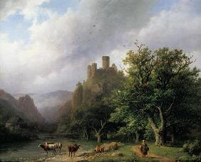 A River Landscape with a Ruined Castle