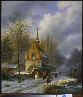 Winter landscape at a church