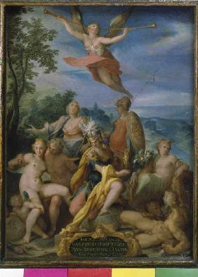 Allegory on emperors Rudolf II. for the completion of the diddling wars