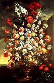 Flower still life from lilies, tulips, pinks and other flowers