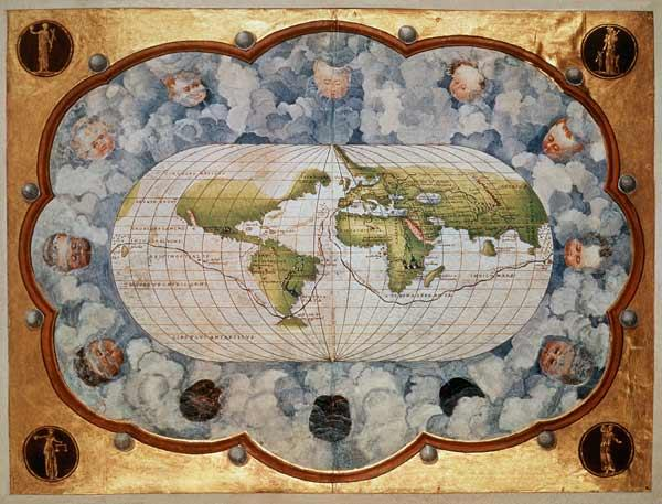 Map tracing Magellan''s world voyage, once owned Charles V, 1545  (see also 63417)