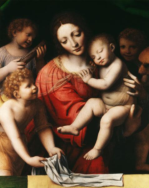 The sleeping Jesus, or Madonna holding the sleeping Child, accompanied by three angels
