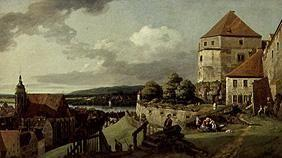 Pirna seen by the fortress's sun stone