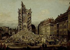 The ruins of the former cross church in Dresden