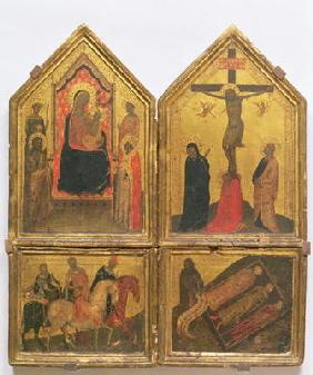 Madonna and Child with Saints, the Crucifixion and the Legend of the Three Living and the Three Dead
