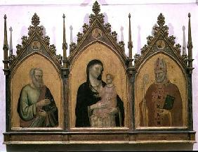 Madonna and Child with SS. Matthew and Nicholas, altarpiece, 1328 (tempera on panel)